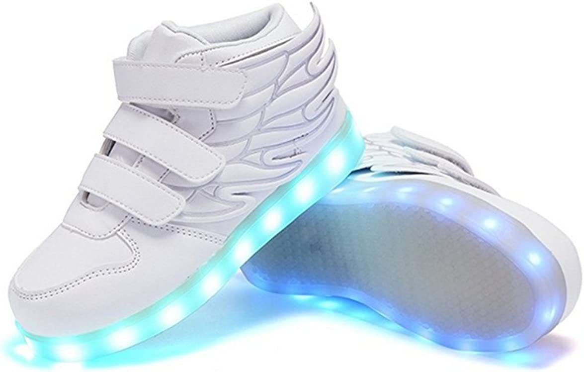 Sunjune Kids 11 Color Led Light Up Shoes with Wings High-Top Fashion Winter Sneakers Flashing Shoes