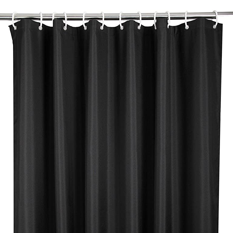 Eurcross Heavy Duty Black Shower Curtain With 12 Hooks Durable And Waterproof Polyester Bathroom Weighted Mildew Resistant 72W X 78L