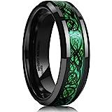 King Will Dragon Men's 8mm/6mm/5mm Red/Green Carbon Fiber Black Celtic Dragon Tungsten Carbide Ring Comfort Fit Wedding Band