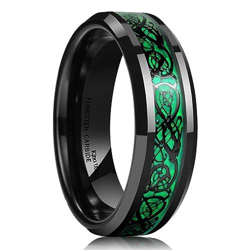 King Will Dragon 5mm Green Carbon Fiber Black Celtic Dragon Tungsten Carbide Ring Comfort Fit Wedding Band 10.5