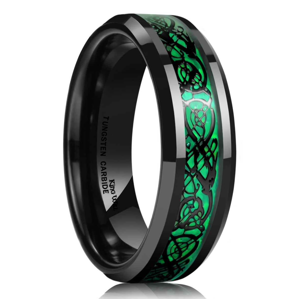 King Will Dragon 5mm Green Carbon Fiber Black Celtic Dragon Tungsten Carbide Ring Comfort Fit Wedding Band (12)