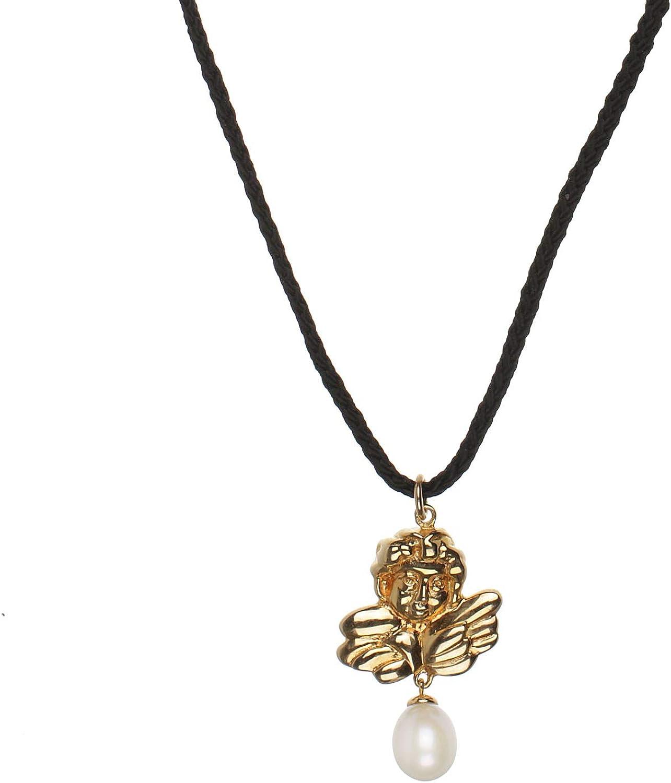 Mujer Collar 43–48cm de largo con perlas de ángel de plata de ley con colgante de oro