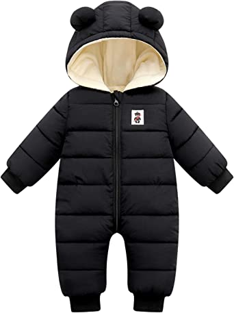 Happy Cherry Baby Winter Clothes Infant Snowsuit Newborn Down Bunting Zipper One Piece Hooded Coat with Shoes and Gloves