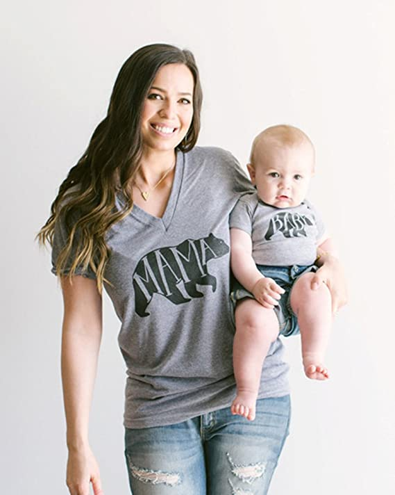 Minetom Hombres Mujeres Casual Letra Oso Impreso Tops Mamá Papá Hijo Hija Manga Corta T-Shirt Blusa Ropa Familia Camiseta: Amazon.es: Ropa y accesorios