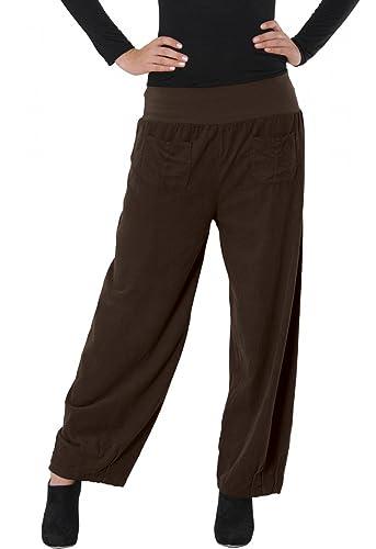 CASPAR tela para mujer pantalones/pantalones con cintura alta S a 3XL hecho en Italia - Varios color...