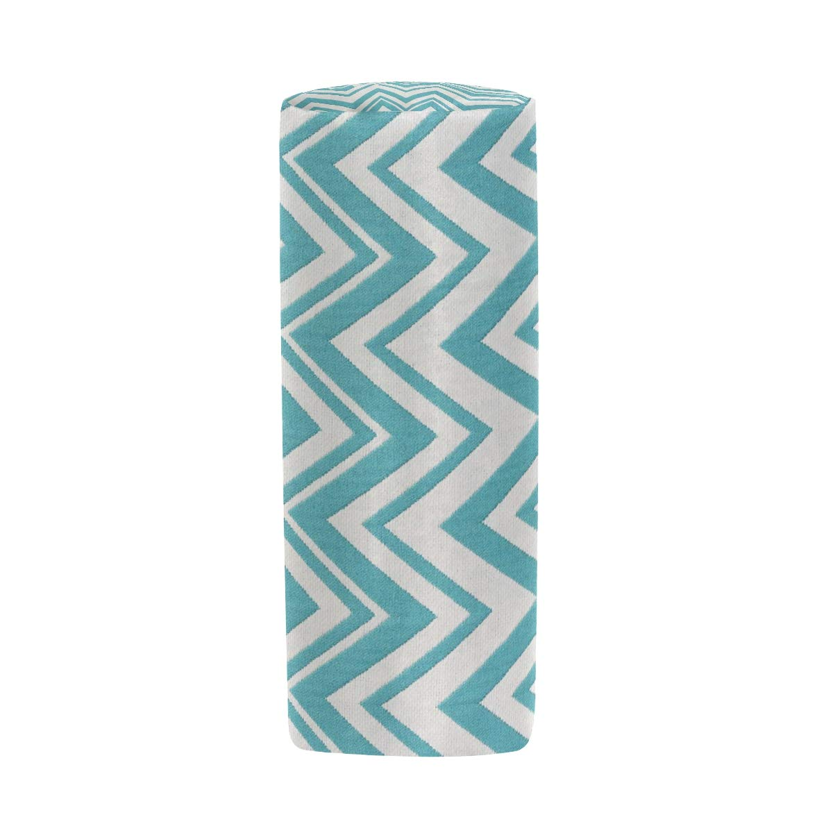 Pencil Case Teal and White Zig Zag School Pen Pouch Office Zippered Pencil Cases Holder Women Makeup Bag by KMAND (Image #3)
