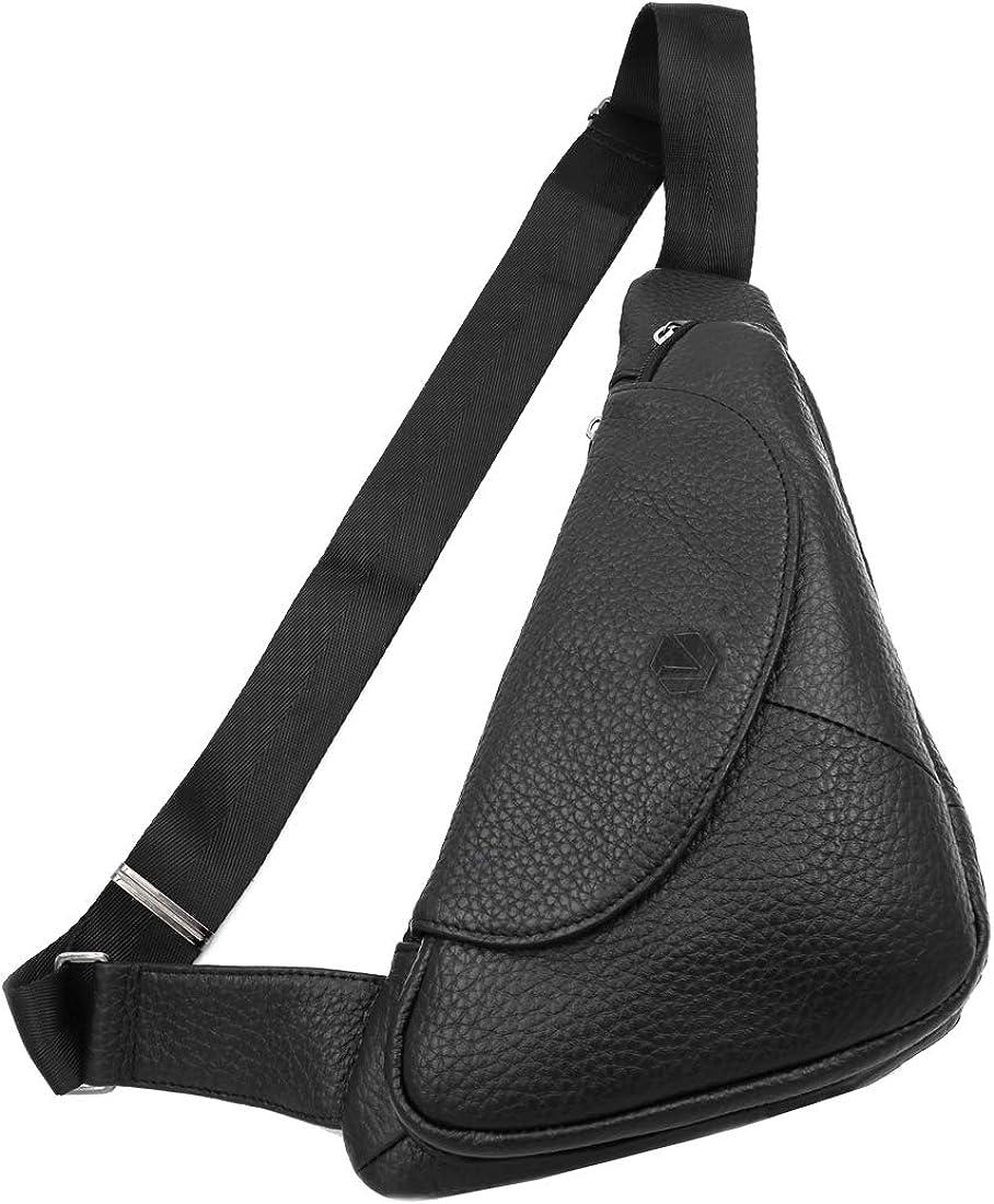Vidlea Basic Black Leather Sling Bag Crossbody Chest Pack Shoulder Daypack Black