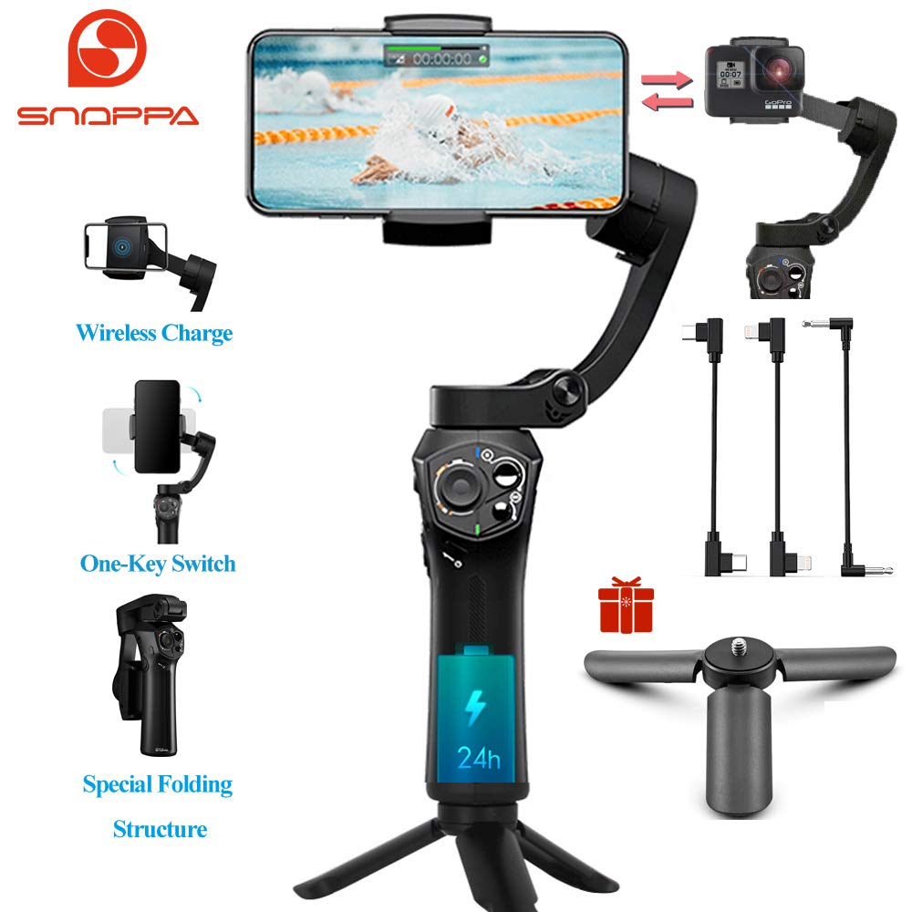 Snoppa Atom 3-Axis Foldable Pocket Sized Handheld Gimbal Stabilizer 310g Payload for GoPro Hero 4 5 6 iPhone Smartphone & Wireless Charging & 24 H Running time by Snoppa