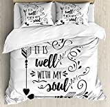 Ambesonne It is well with my soul Duvet Cover Set Queen Size, Doodle Style Positive Inspirational Quote with Swirls Heart Arrows, Decorative 3 Piece Bedding Set with 2 Pillow Shams, Black White