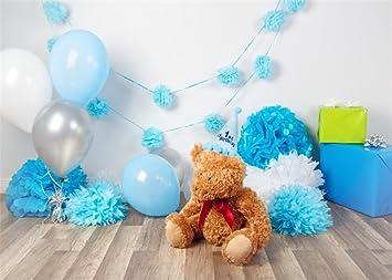 YongFoto 2x1,5m niña primer cumpleaños fondo de oso papel flores regalos madera de abeto fondo de suelo para fotografía interior dulce baby shower ...