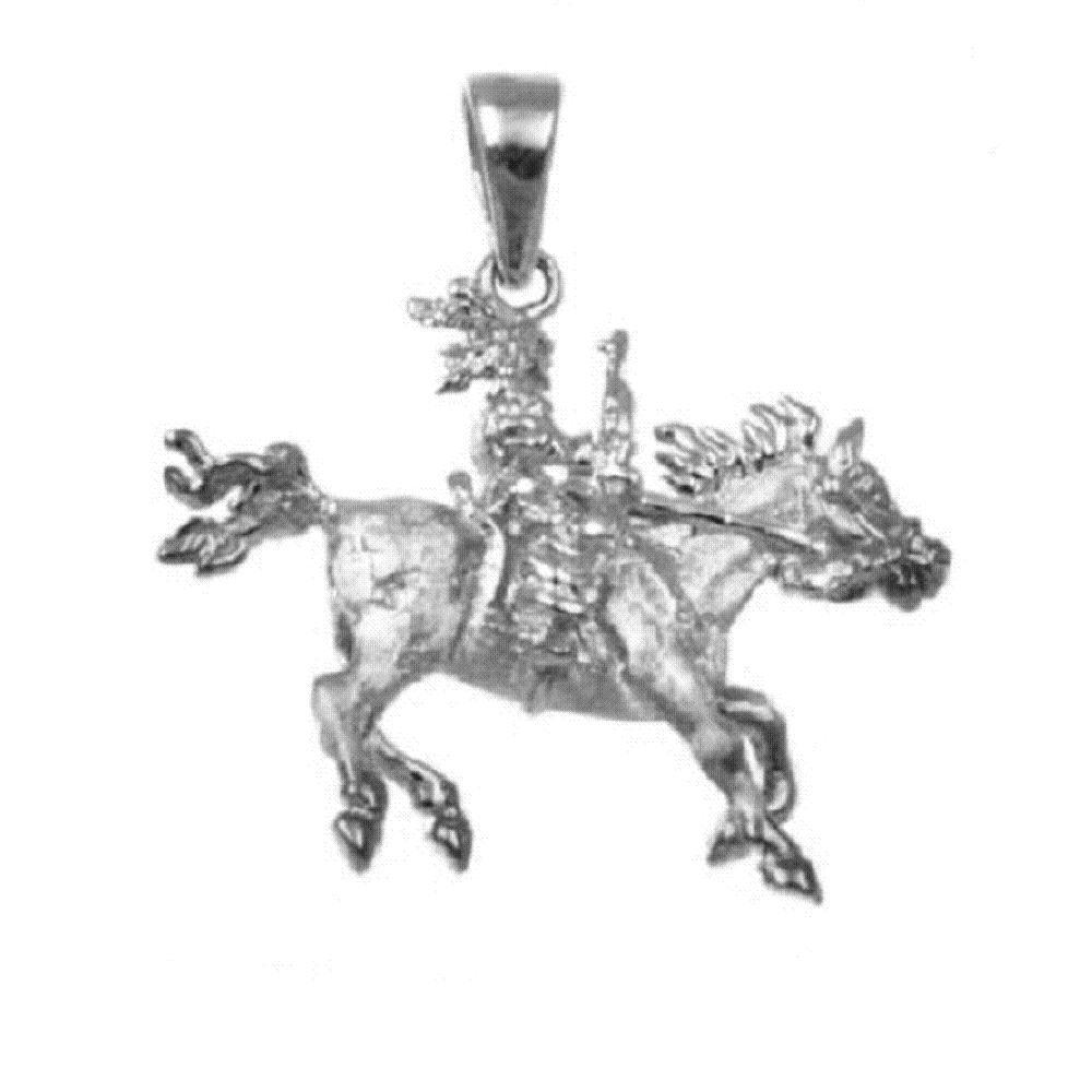 18 Italian Box Chain Made in USA SURANO DESIGN JEWELRY Sterling Silver Native American Riding Horse 3D Solid Pendant