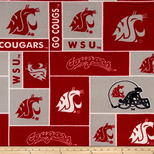 (Sykel Enterprises 0317748 Collegiate Fleece Washington State University Fabric by The Yard, Crimson )