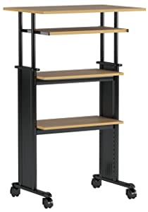 """Safco Products 1929MO Muv 35-49"""" H Stand-Up Desk Adjustable Height Computer Workstation with Keyboard Shelf, Medium Oak"""