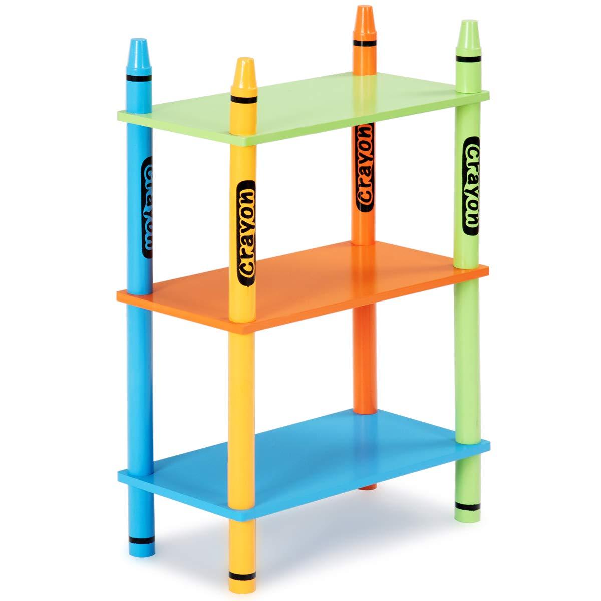 Costzon Crayon Themed 3 Tiers Kids Book Shelf Open Shelf Bookcase for Children Stand Shelf Playroom (Crayon Design)