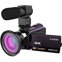 Andoer 4K 1080P 48MP WiFi Digital Video Camera Camcorder with 0.39X Wide Angle Macro Lens 3-inch Capacitive Touchscreen IR Infrared Night Sight