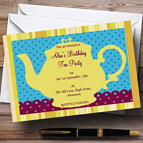 Big Yellow Teapot Vintage Tea Theme Personalized Birthday Party Invitations