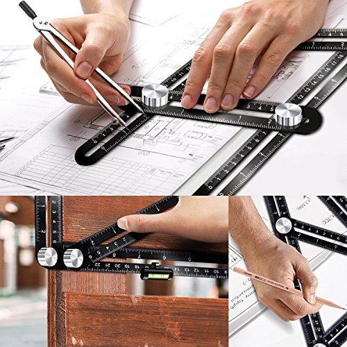 Template Tool Multi Angle Measuring Ruler General Measurement Tool Universal Upgraded Aluminum Alloy Angularizer Ruler for Craftsman Builder Carpenter Architect by XRB (Image #5)