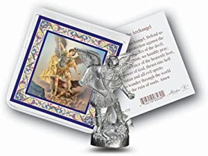 Religious Gifts St Michael Mini Saint Gift Set Tiny 1 Inch Long Statue & Prayer Card
