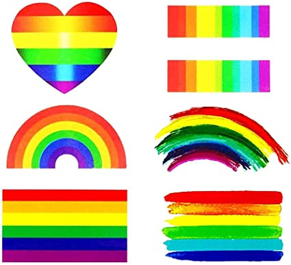 Etiquetas engomadas del arco iris del orgullo gay tatuaje temporal ...
