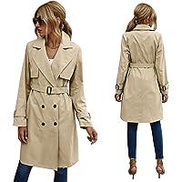 Trench-Coat - Abrigo largo de invierno para mujer con cinturón, con capucha
