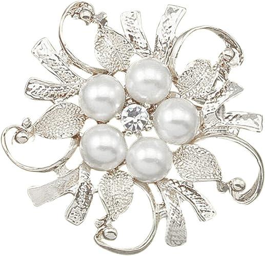 Saling Brooch Pearl Brooch Pin Austrian Rhinestone Crystal Wedding Bridal Broach