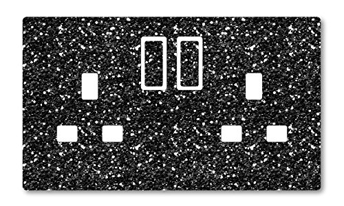 METAL FLAKE GLITTER EFFECT UK LIGHT SWITCH STICKERS, KITCHEN LIVING ROOM DECORATING (Black Double Sockets)