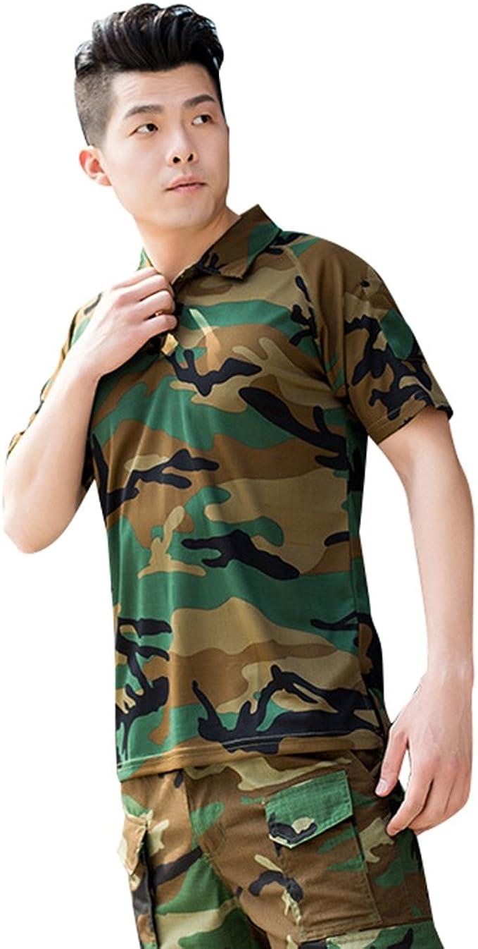 Hombre Verano Aire Libre Camufladas Tácticas Camisetas Militar Solapa Manga Corta Secado Rápido Camo T Shirts Top Selva XL: Amazon.es: Ropa y accesorios