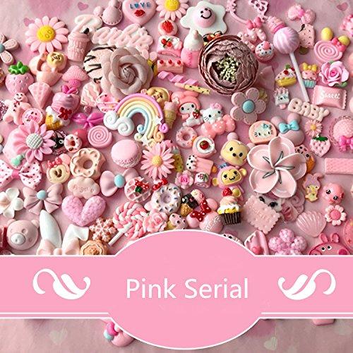 50pcs DIY Craft Making Resin Decoden Charms Jewery Making Kit/Set Slime Charms Princess Pink (Princess Scrapbook Kit)