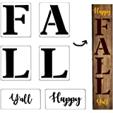 6Pcs Happy Fall Y'all Thanksgiving Reusable Porch Stencil Kit,Mold Kit for Painting Your Own Wooden Sign, Sturdy and…