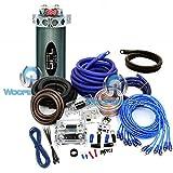 pkg PP-Q0 + CAP 2.0 - 8500W 0 + 4 Gauge 3 RCA Amp Kit 2 Farad Capacitor