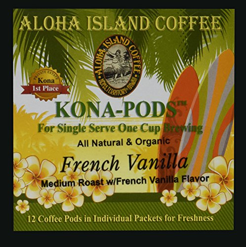 (Senseo Pods From Our Chefs Tasting Collection of Kona Hawaiian Coffee Pods, French Vanilla Flavor, 12 Pods. Reusable Pod Adapter is Available for Eco-Friendly K-cup Brewing Systems)