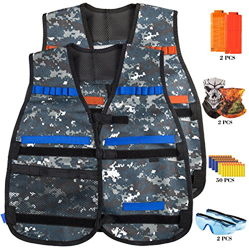 Mask Airsoft Firepower Tactical (YaFex Tactical Vest Kit, Kids Elite Tactical Vest for Nerf Guns N-Strike Elite Series with 2 Quick Reload Clips, 2 Protective Glasses, 50 foam bullets and 2 Face Tube Mask)
