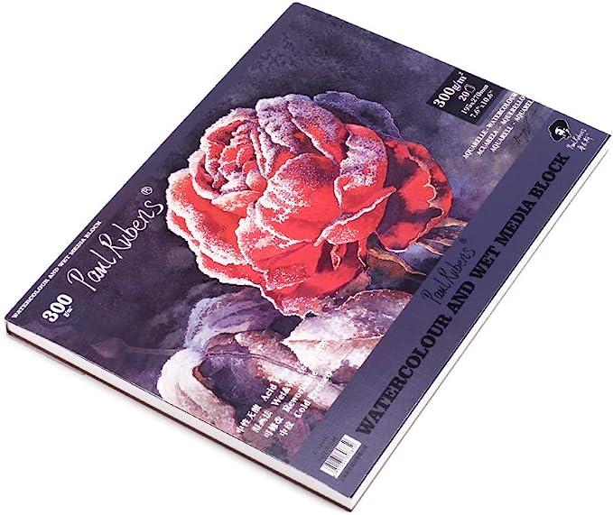 Paul Rubens Watercolour Paper Pad A4.50 Percent Cotton Cloth Artist Quality Acid Free Cold Pressed Paper 7.6 x 10 Inch 140 lb / 300 gsm 20 Sheets 16k 195 x 270 mm