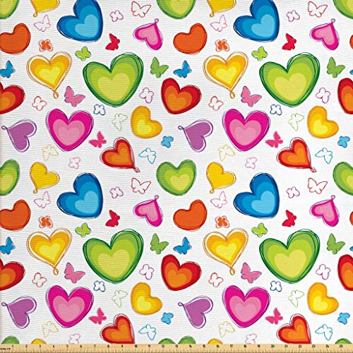 Ambesonne Love Fabric by The Yard, Colorful Hearts and Butterflies Silhouettes Doodle Style Happy Valentines Day Pattern, Decorative Fabric for Upholstery and Home Accents, 1 Yard, Multicolor