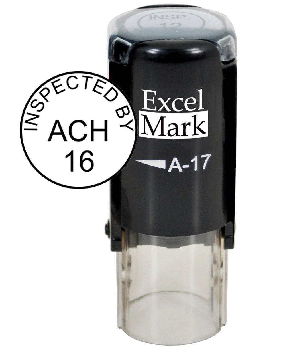 ExcelMark Custom Round Self Inking Inspection Stamp - 5/8'' Diameter (3 Lines)