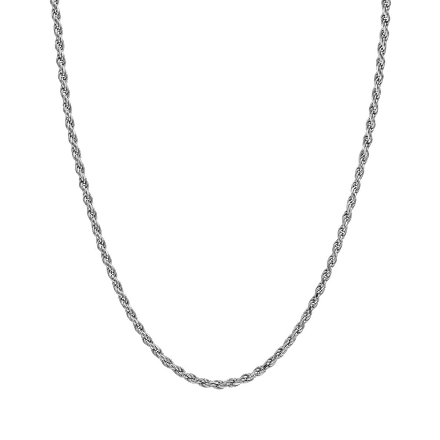 Dubai Collections 14K Rope Chain Necklace Men Women Strong w/Pendant White Gold 2mm Solid Lobster Clasp (18.00)