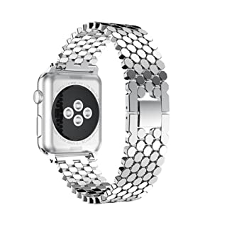 HP95(TM) Replacement Stainless Steel Bead Bands,For Apple Watch Series 3/2/1 38MM Metal Watch Band (Silver)