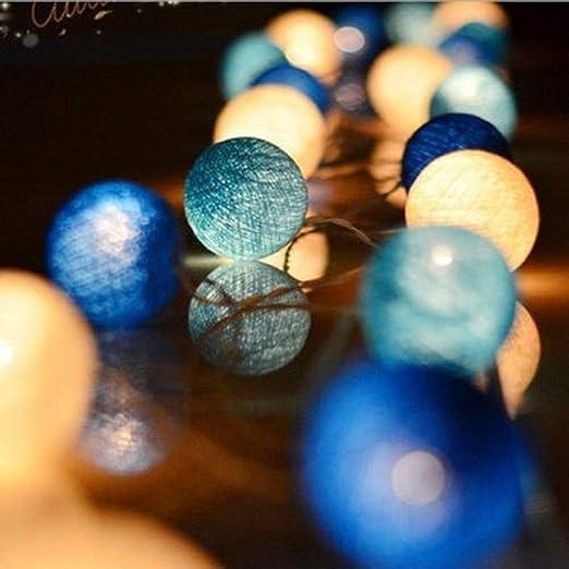 Decoración para el Hogar Bola de algodón azul Cadena de hadas de ...