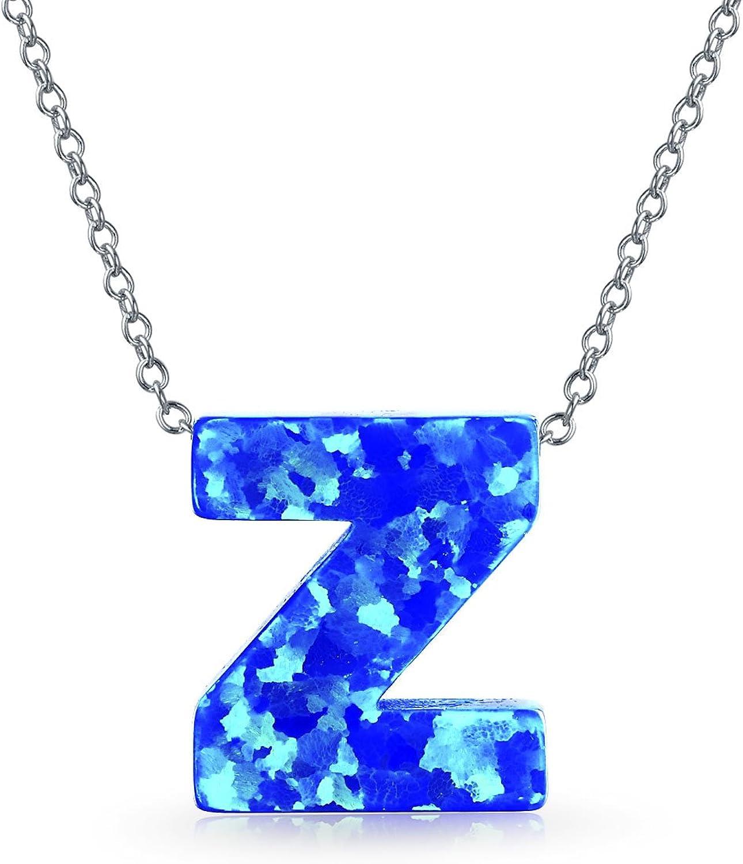 Colgante de plata de ley con diseño de letras del alfabeto de ópalo azul creado A-Z para mujer, piedra natal de octubre
