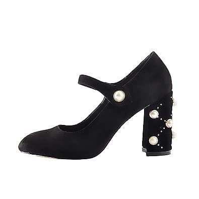 1498ab3da Womens Mary-Jane Pearl Studded Dress Pumps, Round Closed Toe Chunky Block High  Heel