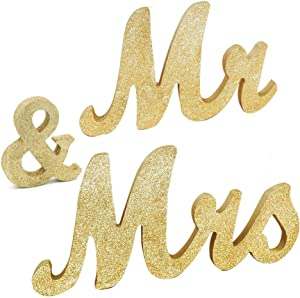 "Awtlife 30"" x 6"" Gold Glitter Mr and Mrs Letters for Vintage Wedding Decoration Table Decor Vintage Style Wooden Mr & Mrs Letters Table"