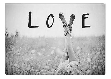 Startonight Cuadro Sobre Lienzo En Blanco Y Negro Amor De Las Flores