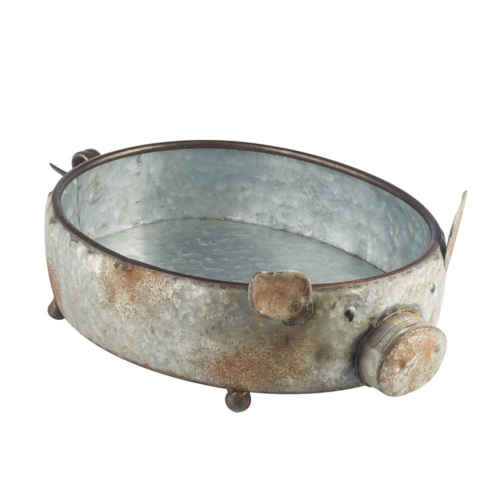 Potpourri Fruit Basket Home Decor COUNTRY ORIGINALS,INC//KALALOU Galvanized Metal Pig Shaped Bowl