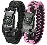 "A2S Paracord Bracelet K2-Peak Series - Survival Gear Kit with Embedded Compass, Fire Starter, Emergency Knife & Whistle - Pack of 2 - Quick Release Design Hiking Gear (Black / Pink 8.5"")"