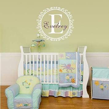 Amazon.com: Baby Boy or Girl Name Wall Qutoe Initial Name Border ...