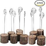 K.MAX Rustic Real Wood Base Photo Clip ,Table Card Holders for Wedding Party Decoration(10 pack)