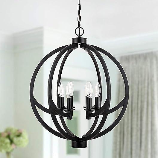 Cerdeco 20 Inches Globe Pendant Light,6-Light Modern Chandelier Painted Black Modern Pendant Light UL Listed