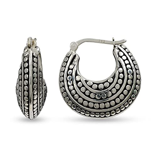 884b7878c Image Unavailable. Image not available for. Color: LeCalla Sterling Silver  DEAL Jewelry Antique Light Weight Tribal Hoop Earrings for Women