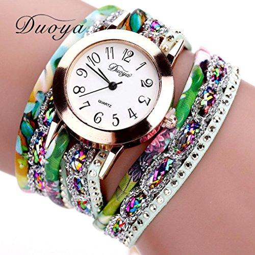 Hunputa 2016 New Watches Women Flower Popular Quartz Watch Luxury Bracelet Women Dress Lady Gift Flower Gemstone Wristwatch (Green)
