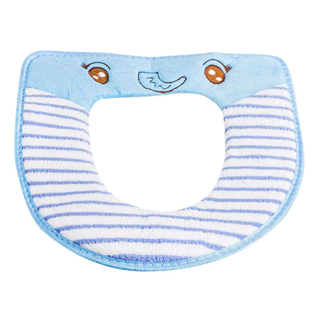 Lovewe Bathroom Seat Protector,Closestool Soft Warmer All Shape Toilet Cover Seat Lid Pad (Blue)